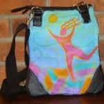 Hand Painted Handbag Purse Shoulder Bag Funky Abstract Figurative Painting