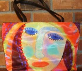 Abstract Art Handbag Shoulder Bag Purse My Original Digital Painting of a Red Haired Woman