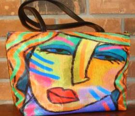 Abstract Art Handbag Purse Shoulder Bag My Colorful Abstract Digital Portrait of a Woman