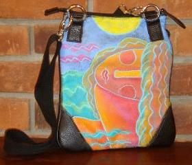 Hand Painted Handbag Shoulder Bag Purse Cross Body Bag