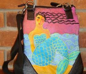 Hand Painted Mermaid Handbag Purse Shoulder Bag Cross Body Bag