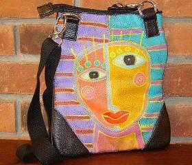 Hand Painted Handbag Purse Shoulder Bag Cross Body Bag Funky Abstract Face