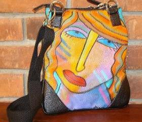 Hand Painted Handbag Purse Shoulder Bag Cross Body Bag Abstract Portrait of a Woman