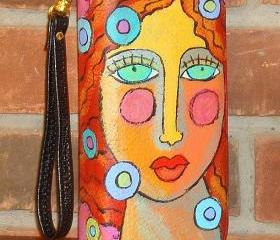 Hand Painted Wristlet Handbag Clutch Purse Wallet