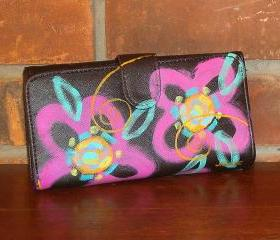 Hand Painted Wallet Abstract Pink Flowers
