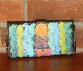 Abstract Art Hand Painted Wallet Clutch Colorful Abstract Painting