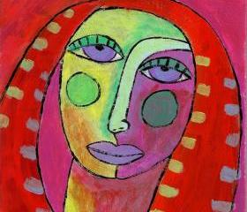 Hand Painted Ceramic Art Tile - Funky Abstract Portrait of a Red Haired Woman