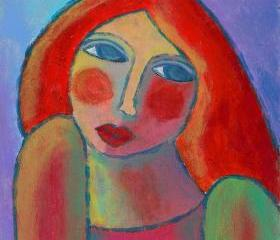 Hand Painted Ceramic Art Tile - Funky Abstract Digital Painting of a Red Haired Woman