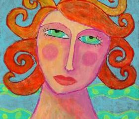 Hand Painted Ceramic Art Tile - Colorful Abstract Portrait of a Woman with Orange Hair