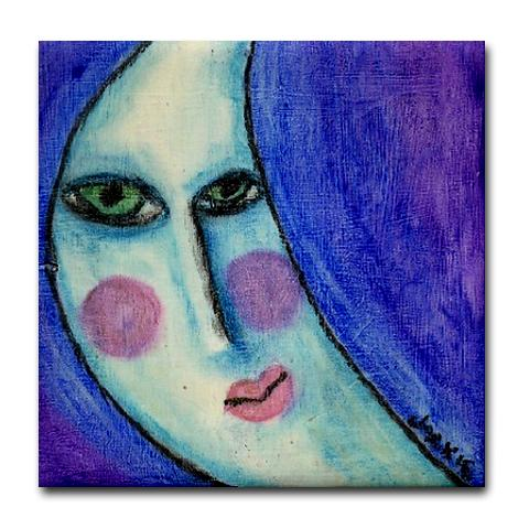 Beautiful Moon Face My Oil Pastel Painting Printed On