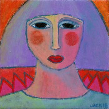 Hand Painted Ceramic Art Tile - Funky Abstract Portrait of a Woman with Purple Hair