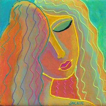 Hand Painted Ceramic Art Tile - Colorful Abstract Portrait of a Woman